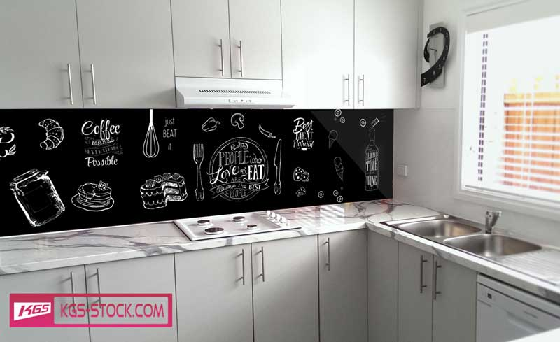 Splashbacks Glass design - Pizza, coffes and ice cream - 100269