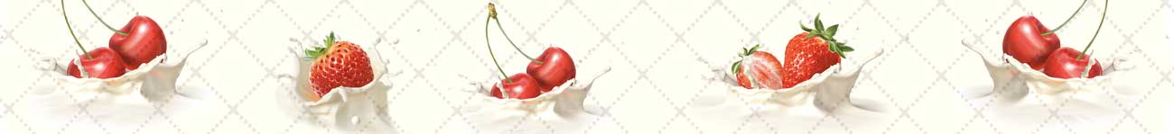 Splashbacks Glass design - Cherry and strawberry in milk  - 100272 Image