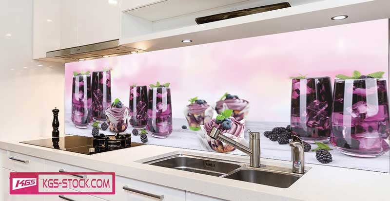 Splashbacks Glass design - Blackberry Smoothie and cupcakes - 100273