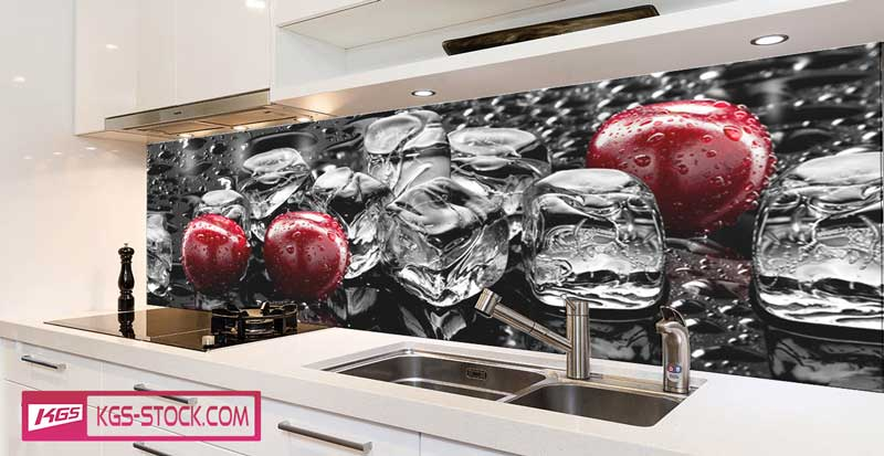 Splashbacks Glass design - Juicy Cherries in Ice - 100274