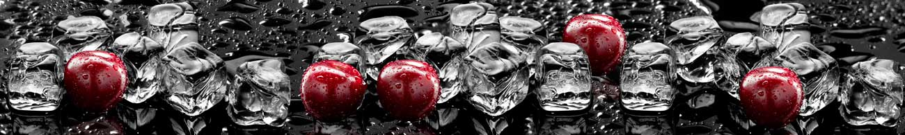 Splashbacks Glass design - Juicy Cherries in Ice - 100274 Image