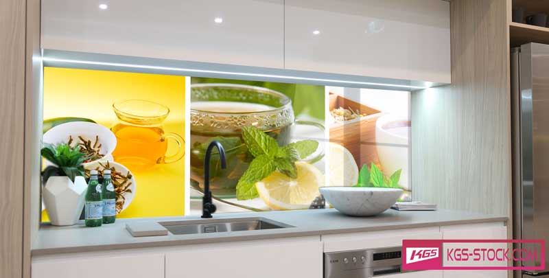 Splashbacks Glass design - Green Tea - 100202