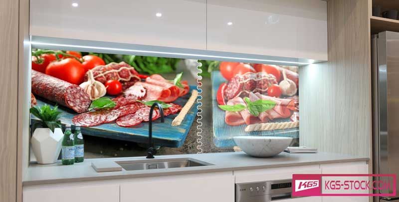 Splashbacks Glass design - Tasty Salamy photos with vegetables - 100211