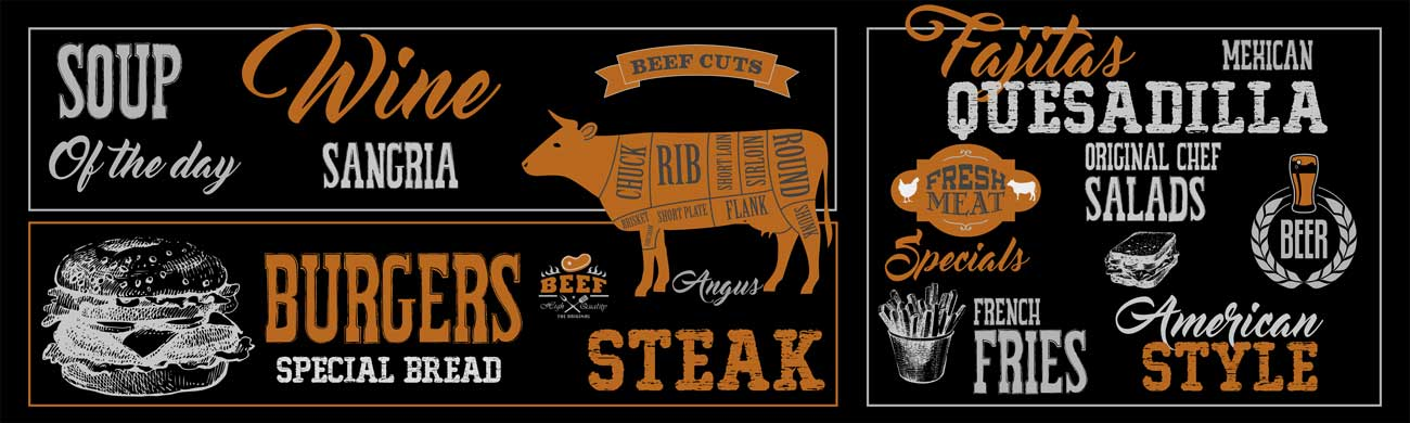 Splashbacks Glass design - Steak, Burgers and Beer - 100215 Image