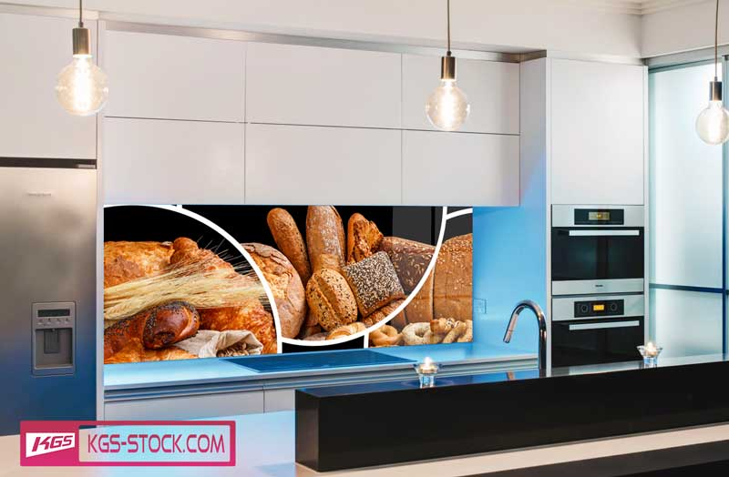 Splashbacks Glass design - Fresh bakes breads - 100219