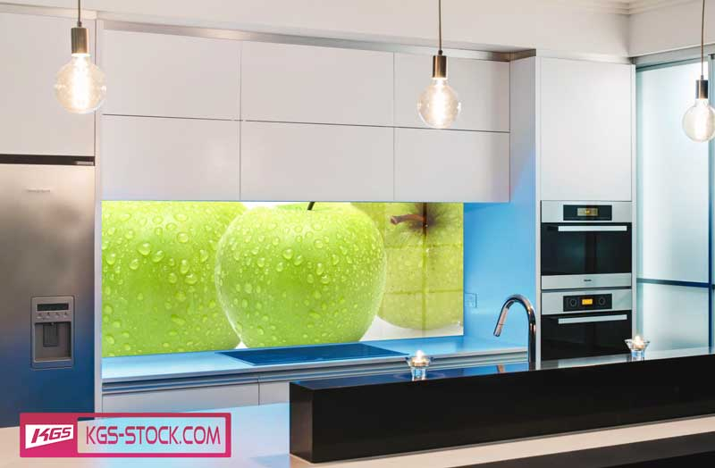Splashbacks Glass design - Fresh green apples - 100221