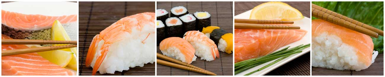 Splashbacks Glass design - Tasty Sushi photos - 100225 Image
