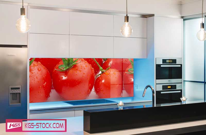 Splashbacks Glass design - Fresh wet tomatoes - 100229