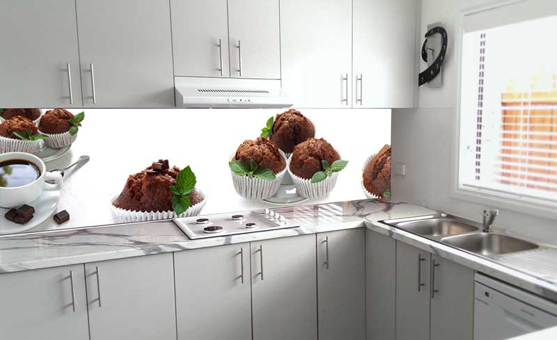 Splashbacks Glass design - Cup cakes with mint - 100235
