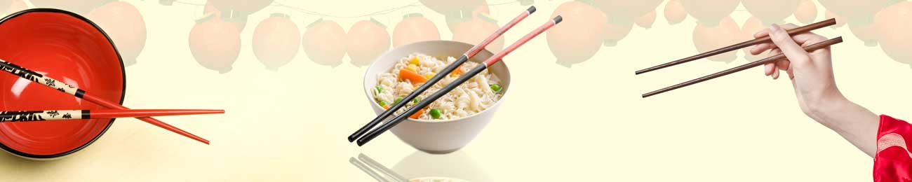 Splashbacks Glass design - Chinese food eating with sticks - 100236 Image