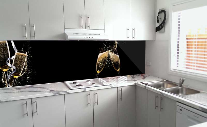 Splashbacks Glass design - Champagne splash - 100237