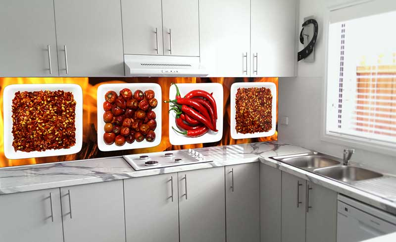 Splashbacks Glass design - Mixed burning red hot peppers - 100242