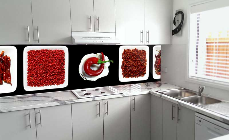 Splashbacks Glass design - Mixed red hot peppers - 100243