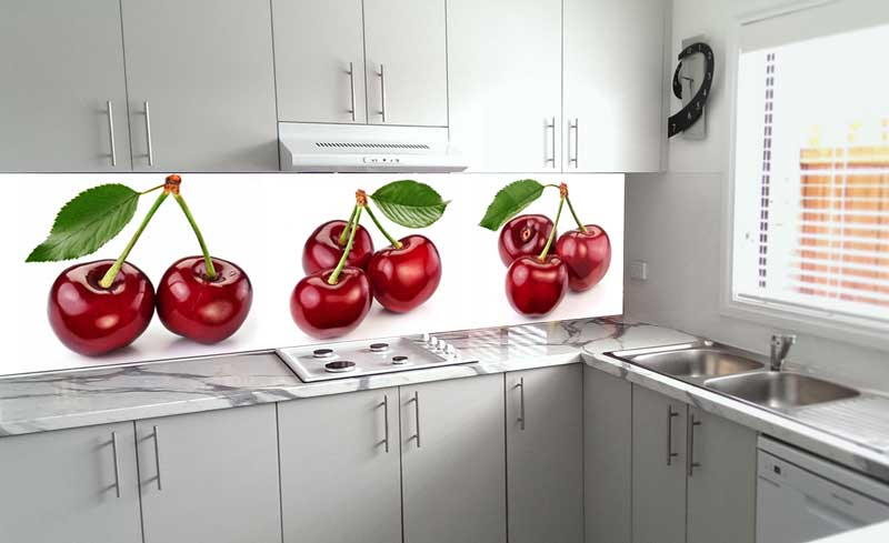 Splashbacks Glass design - Tasty juicy cherry - 100246