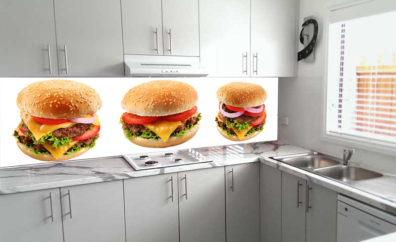 Splashbacks Glass design - Tasty burgers - 100247