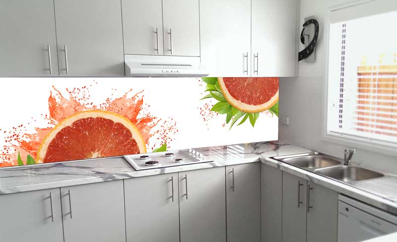 Splashbacks Glass design - Juicy grapefruit splash - 100248
