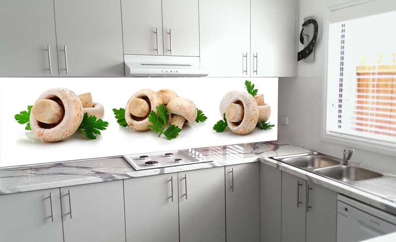 Splashbacks Glass design - Mushrooms with greens - 100250