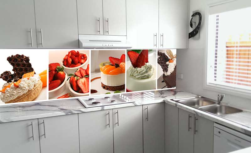 Splashbacks Glass design - Tasty cakes with strawberries - 100252