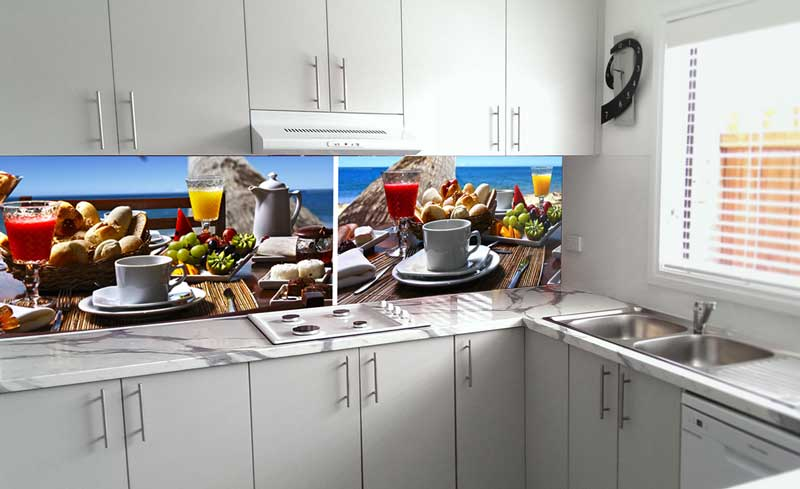 Splashbacks Glass design - Amazing breakfast at the beach - 100254