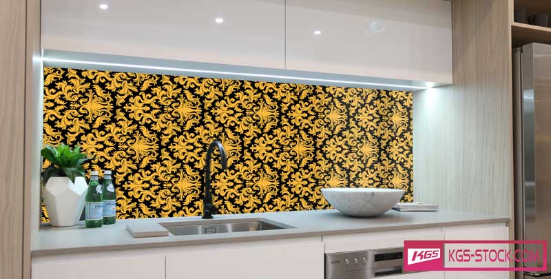 Splashbacks Glass design - Golden ornaments - 100857