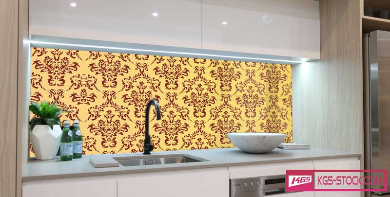 Splashbacks Glass design - Red ornaments with yellow background - 100859