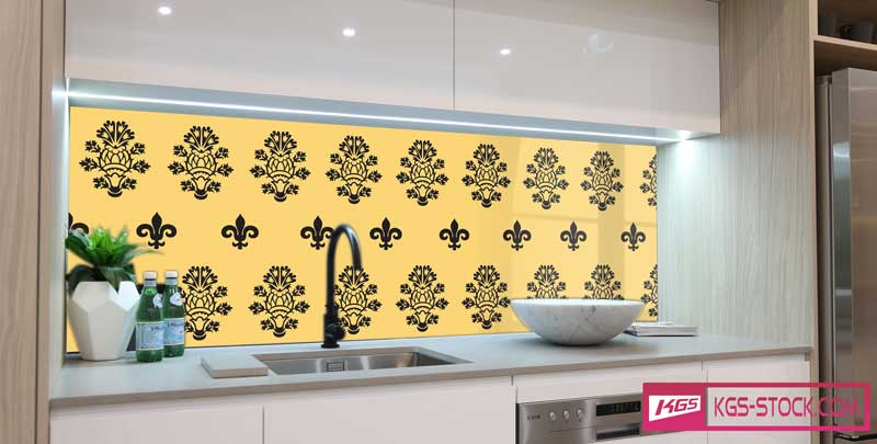 Splashbacks Glass design - Black ornaments with yellow background - 100860