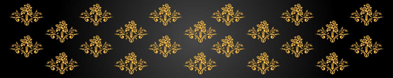 Splashbacks Glass design - Gold ornaments and black background - 100862 Image