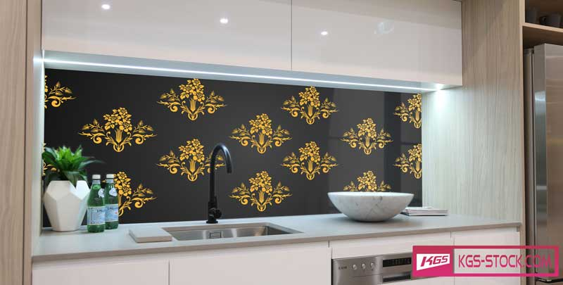 Splashbacks Glass design - Gold ornaments and black background - 100862