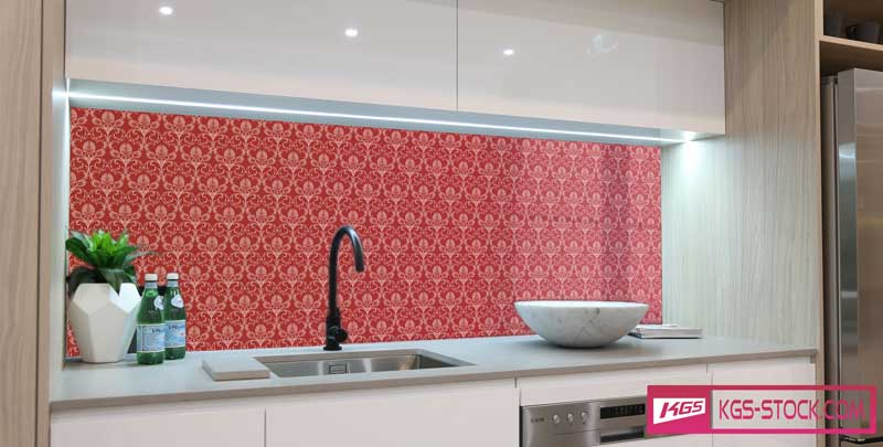 Splashbacks Glass design - White ornaments and red background - 100863