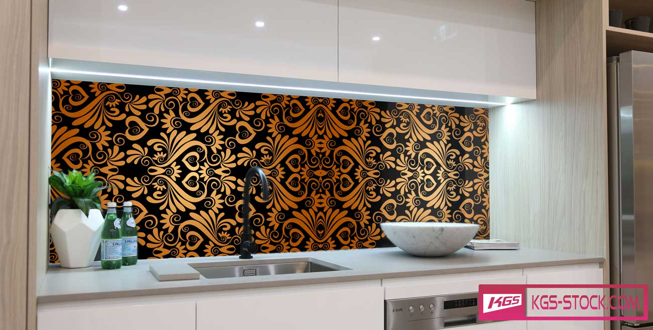 Splashbacks Glass design - Golden Ornaments and black background - 100866