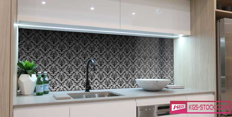 Splashbacks Glass design - Black and white Ornaments - 100869