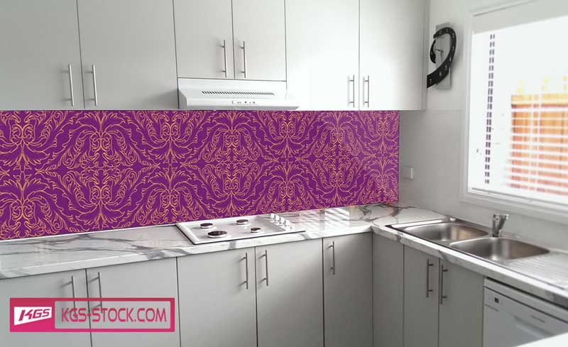 Splashbacks Glass design - Purple and gold ornaments - 100870