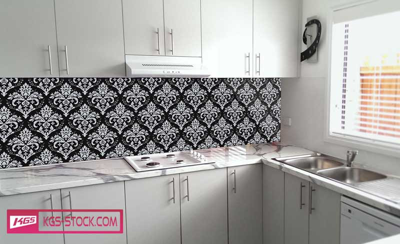 Splashbacks Glass design - Black and white ornaments - 100872