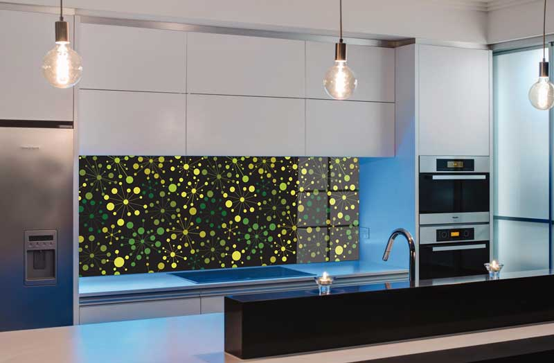 Splashbacks Glass design - Green Galaxy - 100803