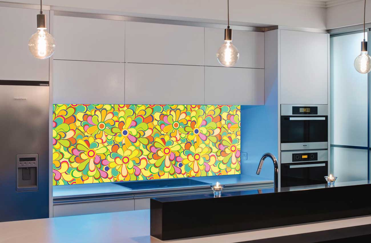 Splashbacks Glass design - Colorful mixed flowers - 100807