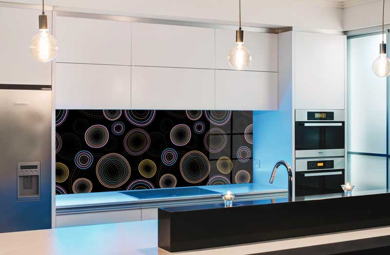 Splashbacks Glass design - Colorful hypnotic circle pattern - 100811