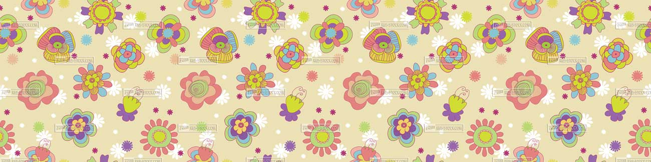 Splashbacks Glass design - Colorful beautiful flowers pattern - 100812
