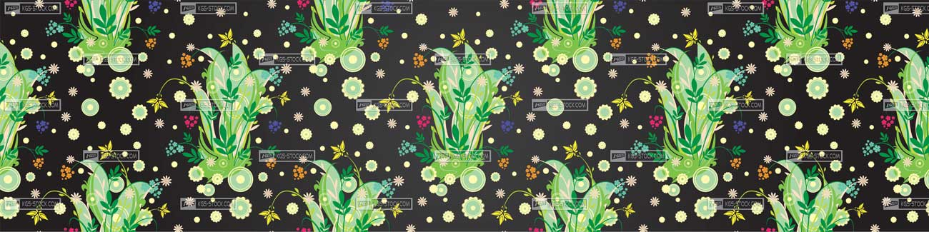 Splashbacks Glass design - Green flowers pattern - 100814