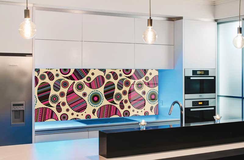 Splashbacks Glass design - Colorful almond-shaped pattern - 100820