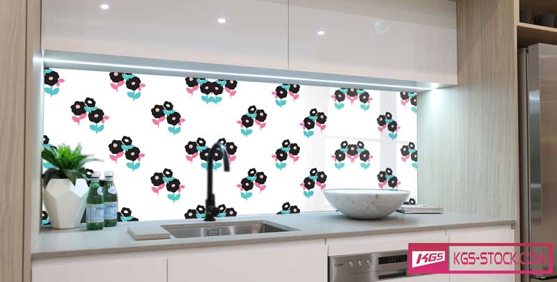 Splashbacks Glass design - Purple and blue flowers pattern - 100831