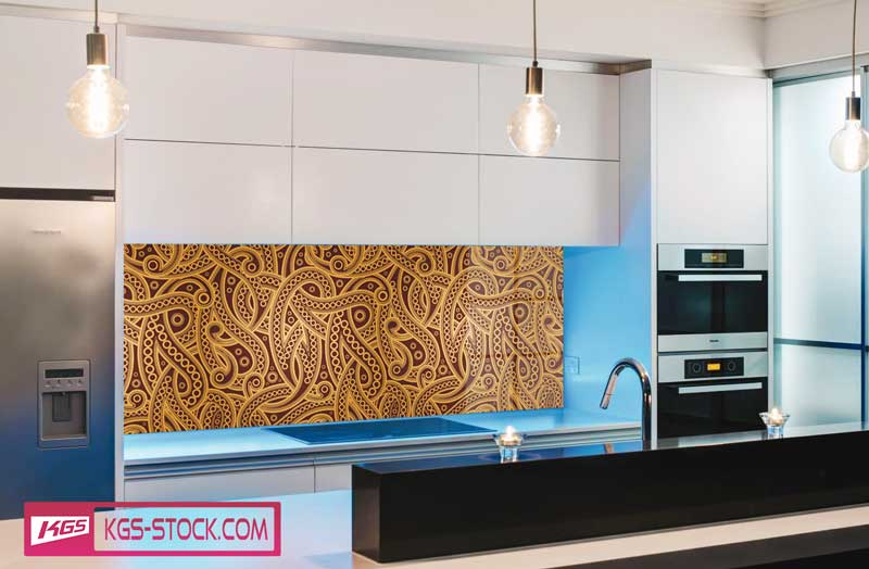 Splashbacks Glass design - Golden floral Almond-shaped pattern - 100833