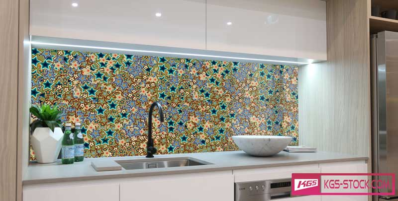 Splashbacks Glass design - Colorful stars - 100838