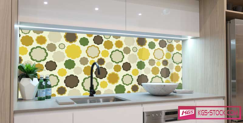Splashbacks Glass design - Yellow flowers pattern - 100840