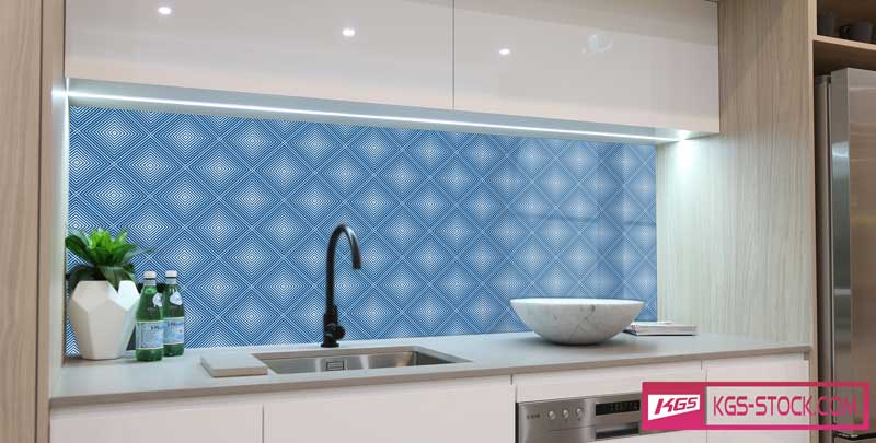 Splashbacks Glass design - Blue square pattern - 100841