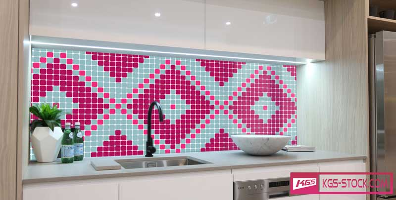Splashbacks Glass design - Mosaic square pattern- 100843