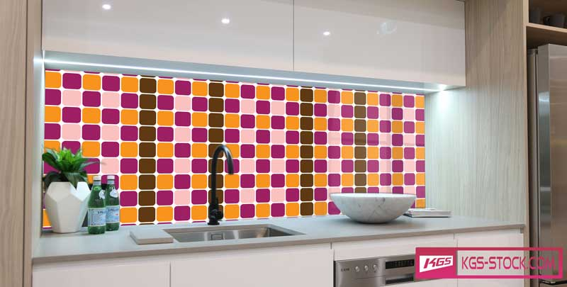 Splashbacks Glass design - Colorful mosaic pattern - 100847