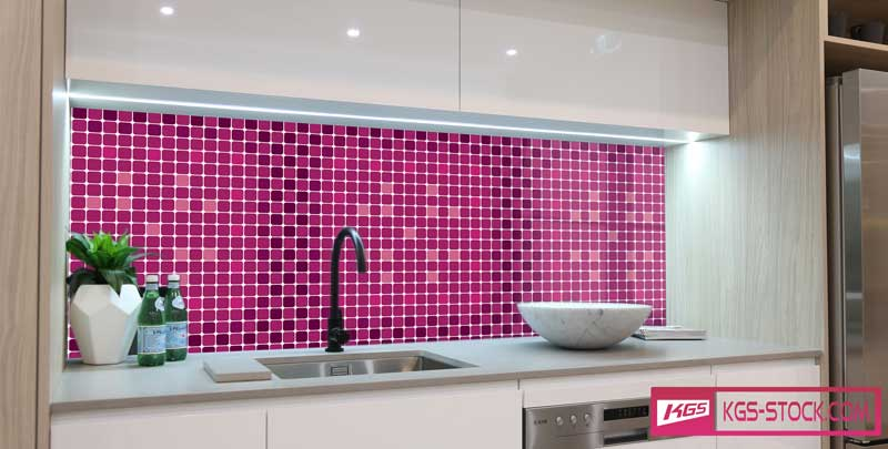 Splashbacks Glass design - Purple mosaic pattern - 100848