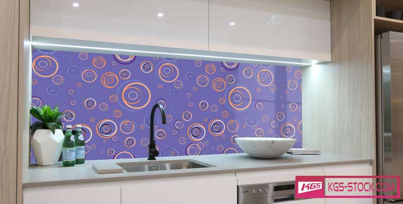 Splashbacks Glass design - Colorful circles on purple pattern - 100851