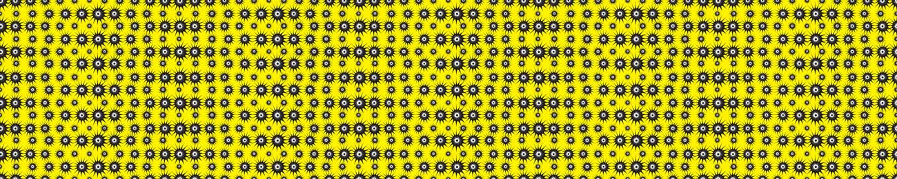 100852 Yellow Black Eyes Splashbacks Skinali Kitchen Glass Print