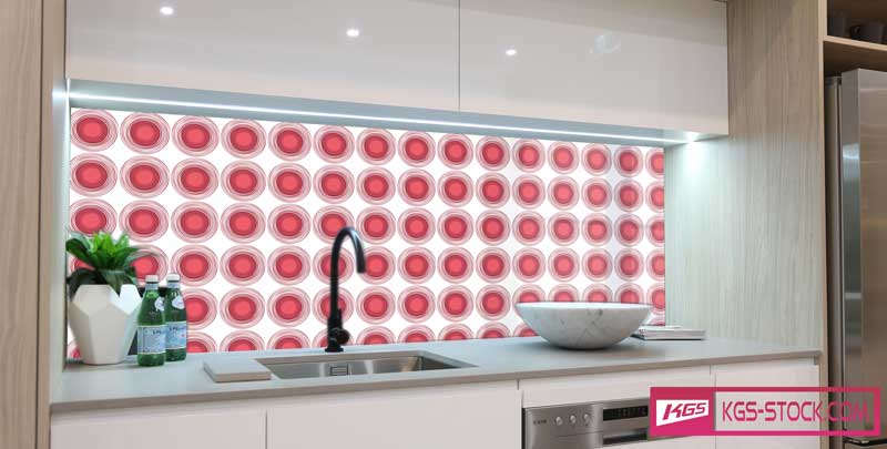 Splashbacks Glass design - Red circles pattern - 100856